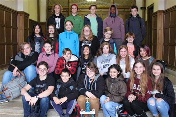Math Team Participants with Trophy